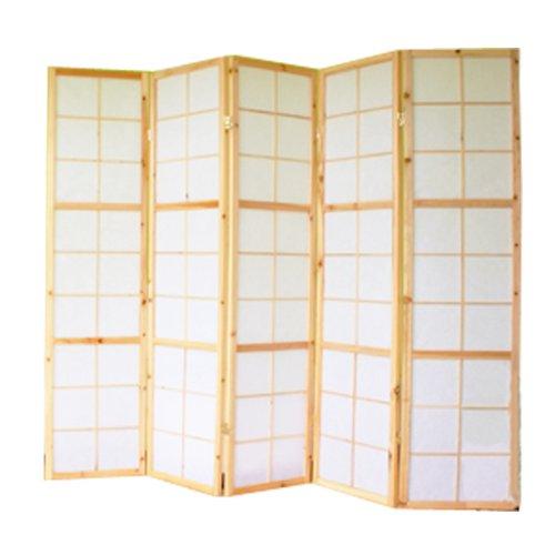 PEGANE Biombo japonés Shoji de Madera Natural de 5 Paneles