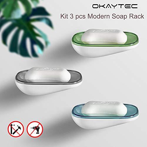 Okaytec Seifenschale Seifenhalter ohne Bohren - Seifenablage für Badezimmer Dusche Küche (Modern & Kit 3 Stück)