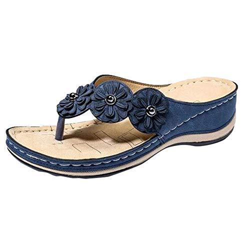 Casual Vacaciones Walking Zapatos, Flor Plana Redonda Sandalias de Las Mujeres del Dedo del pie, Flip-Flop-Blue_37, Soft Sole Piscina Zapatos Baño kshu
