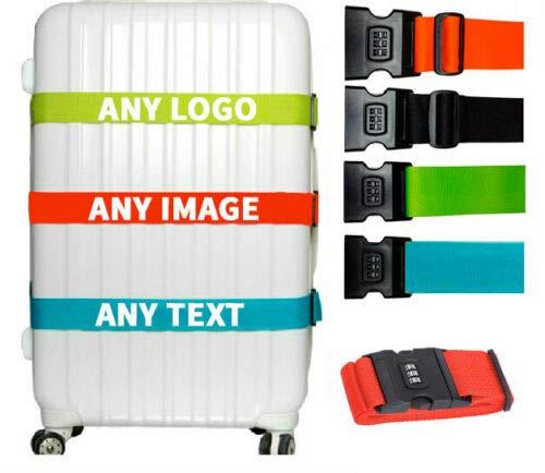 Personalised Luggage Strap With Lock Suitcase Printed Logo Image Luggage Belt