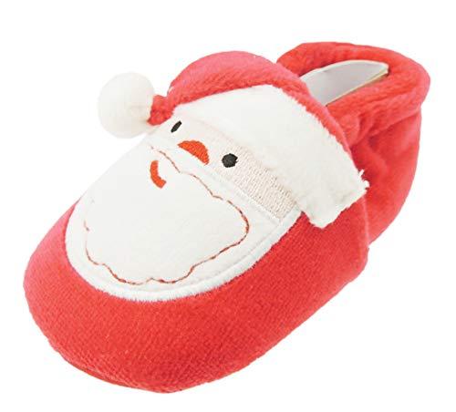 Glamour Girlz Chaussons pour bébé fille et garçon avec bonnet de Père Noël rouge festif (0–3 mois)