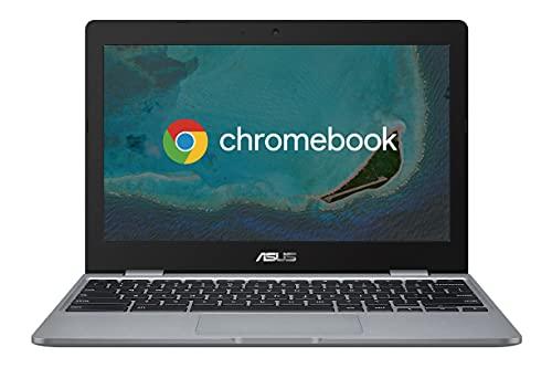 Asus Chromebook C223 Notebook con Monitor 11,6' HD Anti-Glare, Intel Celeron N3350, RAM 4GB, 32GB eMMC, Sistema Operativo Chrome, Grigio