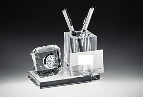 MAZZOLA LUCE Set per scrivania Porta Penna Orologio e Porta bigliettini da Visita in Cristallo Elegante per Ufficio