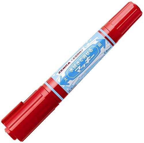 ゼブラ 水性ペン 水拭きで消せるマッキー 赤 P-WYT17-R 【× 4 本 】