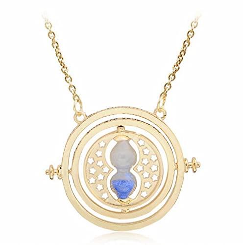 AOLIAY - Collana a clessidra con pendente rotante in vetro dorato con ciondolo a forma di sabbia e anime, regalo per ragazze, donne, bambini, blu