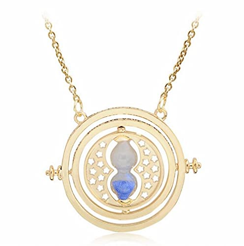 AOLIAY Time Turner Necklace Hourglass Rotating Pendant Gold Glass Sand Clock Pendant Jewelry Anime Cosplay Gift for Girl Women Children, Blue