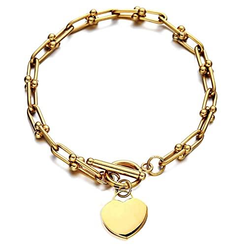 Pulsera Con Dijes de Corazón Con Cadena en U de Acero Inoxidable Para Niñas Y Mujeres, Pulseras de Palanca, Regalo de Cumpleaños, Joyería Para El Día de San Valentín