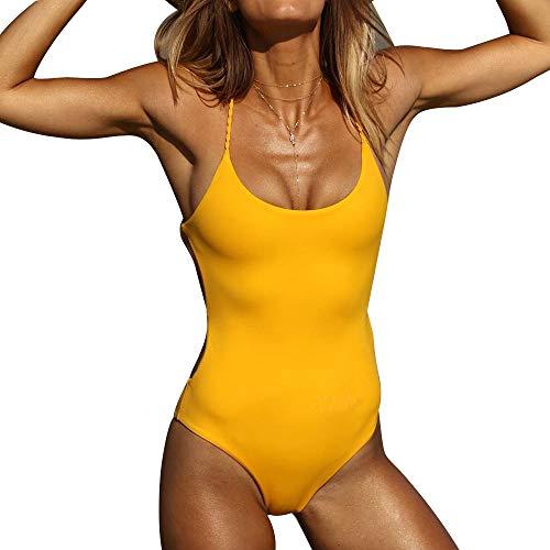 Rosennie Damen Sexy One Piece Bademode Frauen Bandage Thong Bikini Badeanzug Bade Beachwear Reizvolle Push-Up Gepolsterte Bade Backless Bikini Fashion Jumpsuits Swimwear Triangle Bikini (M, Gelb)