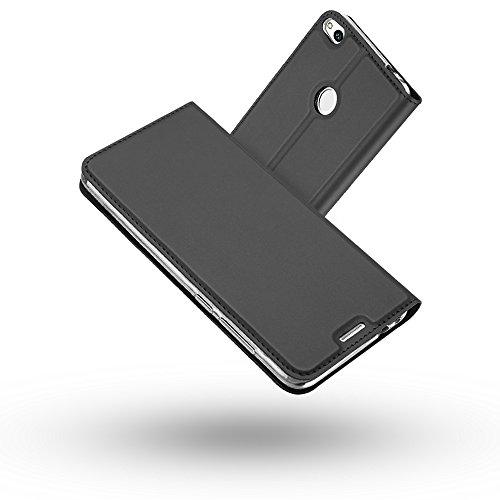 Radoo Funda Huawei P8 Lite 2017, Slim Case de Estilo Billetera Carcasa Libro de Cuero,PU Leather con TPU Silicona Case Interna Suave [Cierre Magnético] para Huawei P8 Lite 2017 (Gris Oscuro)