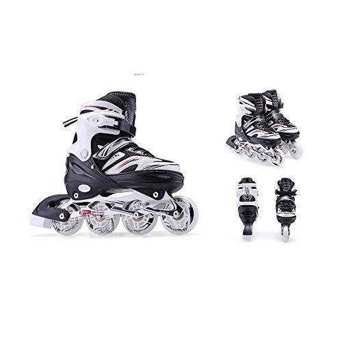 Kinder Verstellbare Inline Skates Flash Erwachsene Männer und Frauen Inline Rollschuhe Anfänger Jungen und Mädchen Kinder Roller Blades Pu Mesh Schwarz_L 39-42