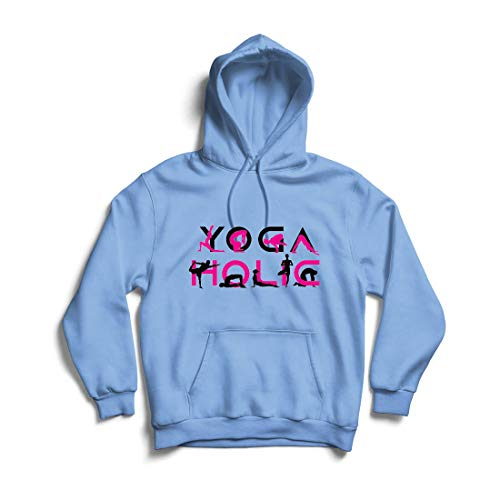 lepni.me Sudadera con Capucha Yoga Holic, Vibraciones positivas, Citas de Entrenamiento Motivacional, Regalos para los Amantes del Yoga (X-Large Azul Multicolor)