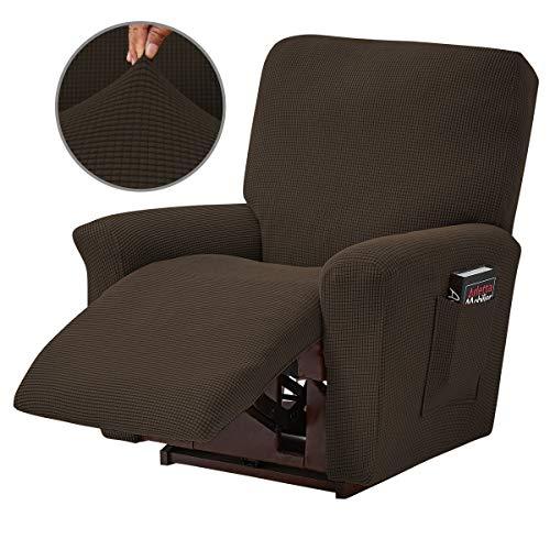 Topchances 4-teiliger Schonbezug für Relaxsessel, Jacquard, Spandex, mit unterer Seitentasche, passend für Wohnzimmer, Schlafzimmer (braun)