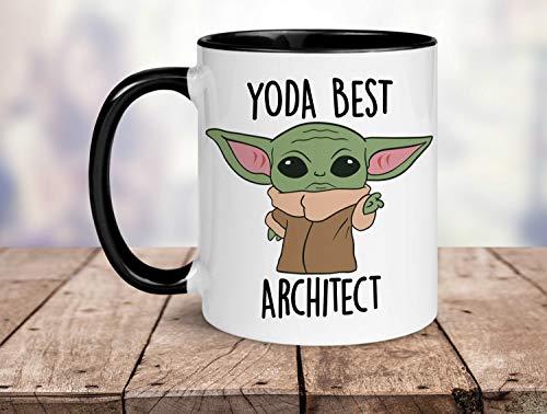 Yoda - Taza con texto en inglés 'Best Architect Ever', regalo divertido para arquitecto, arquitecto tarjeta de cumpleaños, mejor arquitecto del mundo