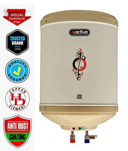 ACTIVA 10 LTR Instant 3 KVA 5 Star Rated Geyser Special Anti Rust Coating Body with ABS TOP Bottom, HD ISI Element Amazon (Ivory)