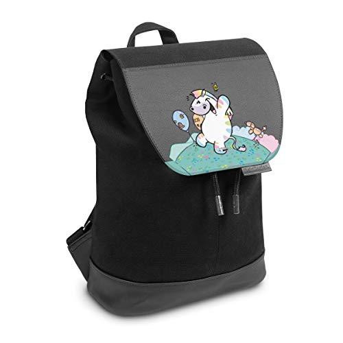 Rucksack mit Lasche 30 cm x 20 cm Daypack für Damen & Herren Tasche mit Design Pummeleinhorn Zebrasus transparent