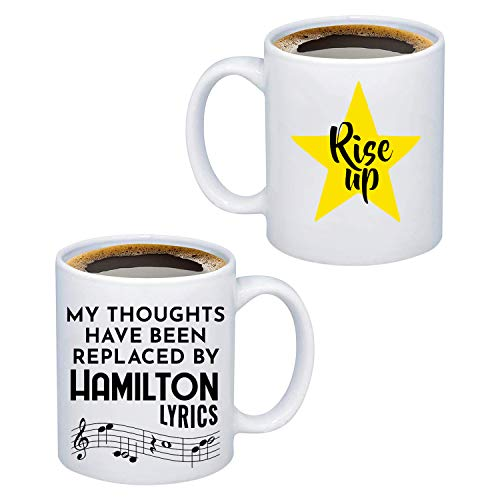 FOTAP Hamilton Gift My Thoughts Have Been Replaced by Hamilton Lyrics Mug Broadway Musical Lover Gift (Hamilton Lyrics Mug)