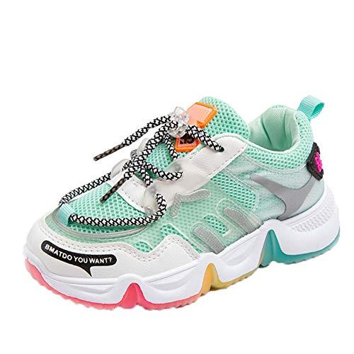 Calzado Deportivo para niños Primavera y otoño Malla Transpirable con Fondo Plano Zapatos Casuales para Correr Antideslizantes Resistentes al Desgaste Zapatos de Baile bajo del Arco Iris