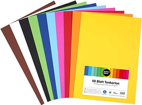 perfect ideaz 50 feuilles de papier cartonné A3, carton de bricolage, teinté dans la masse, en 10 coloris différents, grammage 210 g/m², feuilles à qualité élevé