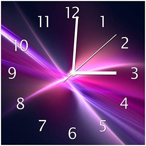 Wallario Glas-Uhr Echtglas Wanduhr Motivuhr • in Premium-Qualität • Größe: 30x30cm • Motiv: Abstrakte Formen und Linien schwarz lila pink weiß