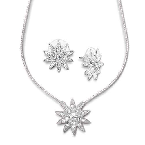Collana 'stella di diamante' con scintillanti cristalli Swarovski, lunghezza 45 cm, confezionata in una bella confezione regalo per gli appassionati di Sisi e base metal, colore: argento, cod. 058