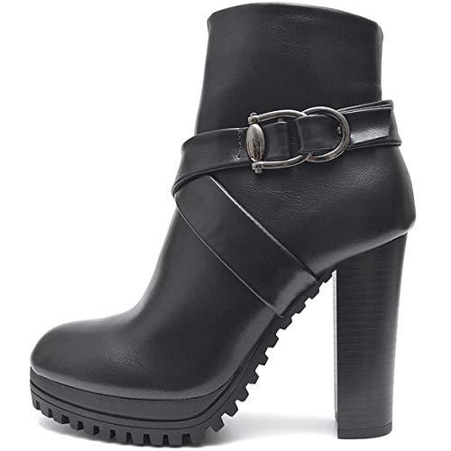 Plateau Damen Schuhe Schwarze Blockabsatz High Heels Ankle Boots Stiefeletten Kurz Stiefel mit Reißverschluss (36 EU, Schwarz)