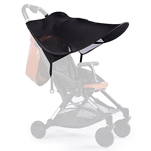 Toldo de sol para bebês para carrinhos de bebê Capa de proteção contra o sol infantil extensível com FPS e capota de ajuste universal respirável para corrida (preta, 66 x 78 cm)