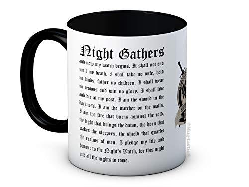 Nights Watch Oath and Shield - Jon Snow Game of Thrones - Taza de Café de Cerámica