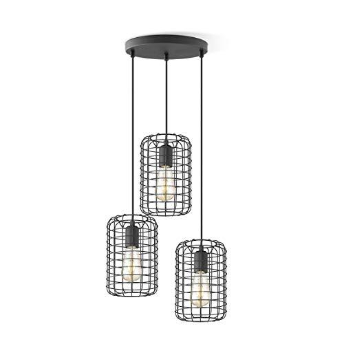 Netting runde 3-flammige Deckenleuchte, DEKRA-zertifiziert, höhenverstellbare Käfiglampen mit E27 Fassung ideal für LED Deko Glühbirnen geeignet