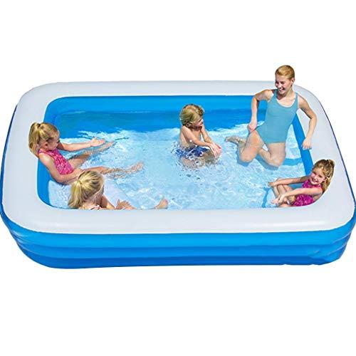 Piscinas Piscinas inflables rectangular de azul profundo grande Piscina al aire libre Piscina for niños adultos ajustable parque acuático sin necesidad de instalación (Color: Azul, Tamaño: 9.8 pies) Z