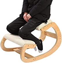 Ergonomic Kneeling Chair for Upright Posture - Rocking Chair Knee Stool for Home, Office & Meditation - Wood & Linen Cushion - Relieving Back and Neck Pain & Improving Posture (White Oak)