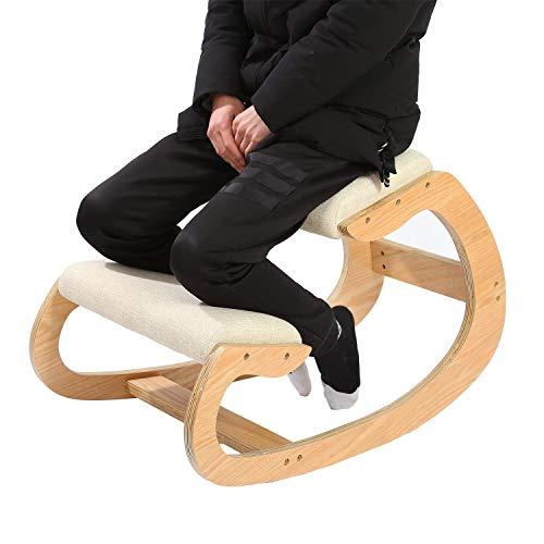 Ergonomischer Kniestuhl für Sitzkorrektur – Kniehocker Sitzhocker für Zuhause Büro Meditation - Holz & Leinen Kissen – Rückenschmerzen Nackenschmerzen Lindern & Körperhaltung Verbessern (weiße Eiche)