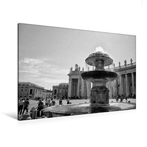 Calvendo Premium Textil-Leinwand 120 cm x 80 cm quer, Brunnen auf dem Petersplatz   Wandbild, Bild auf Keilrahmen, Fertigbild auf echter Leinwand, Leinwanddruck: Vatikan in schwarz und weiß Orte Orte