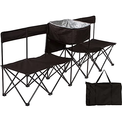 Trademark Innovations 7.5' Portable 4-Seater Folding Team Sports Sideline Bench with Back & Attached Cooler (Black)
