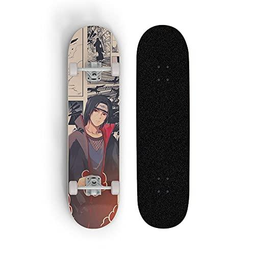 Tablero completo de monopatín para Naruto: Uchiha Itachi, skate de siete capas de arce a través de la tabla corta de estilo libre, Mini Street Board, adecuado para adolescentes, niños y adultos