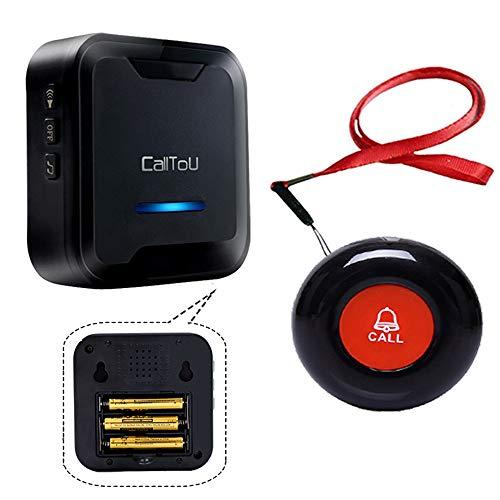 CallToU 呼び出しワイヤレス コールボタン 介護ベル 電池式携帯しやすい 防水 緊急アラーム 警報 システム 患者/高齢者/障害者 個人用 1受信機& 1発信機