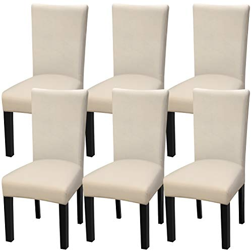 Fuloon 6 Pack Super Fit Stretch Removable Washable Short Dining Chair Protector Cover Seat Slipcover for Hotel,Dining Room,Ceremony,Banquet Wedding Party (Cream-Coloured)