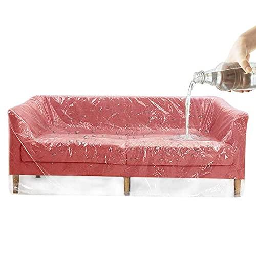 XHNXHN Juego de 2 fundas de plástico para sofá, fundas de almacenamiento de sofá grandes, resistentes al agua, más gruesas, transparentes, fundas de protección para guardar y moverse, 191 x 305 cm