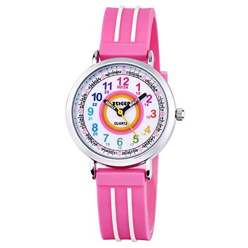 Zeiger Kinder Uhr Analog Quartzwerk mit Silikon Armband Lernuhr Rosa Silikon Easy-Read time Teacher zum Uhrzeit KW110-ZEI