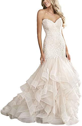 CGown Damen Sweetheart Ausschnitt Meerjungfrau Hochzeitskleider für Braut mit Zug Spitze Applique Strand Brautkleid Gr. 36, elfenbeinfarben