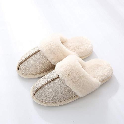 COQUI Slippers Hombre,Par de Zapatos de Invierno para Hombre, Zapatillas de algodón para el hogar, Estilo Coreano, Hotel Simple, Interior de casa de Suela Gruesa para Mujer-Vino Rojo_42-43