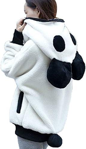 TOTOD Women Outerwear Cute Bear Ear Hooded Jacket Warm Plush Panda Sweater Hoodie Jacket Coat product image