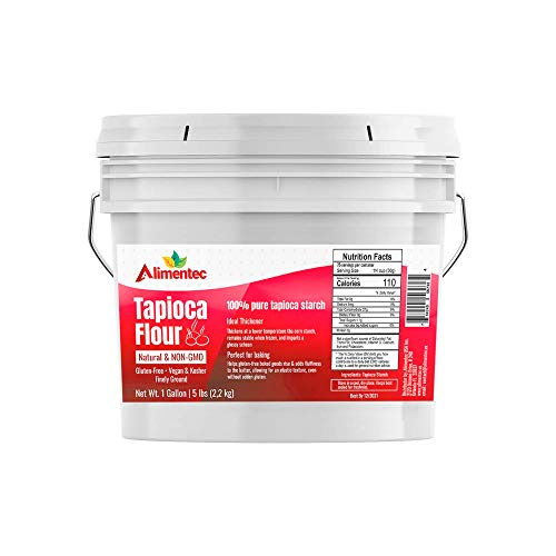 Alimentec Tapioca Flour (1 Gallon (5 lb.)) , Also Known As Tapioca Starch, Resealable Bucket, Fine White Powder, Gluten-Free, Non-GMO