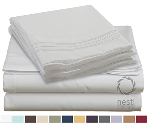 HIGHEST QUALITY Bed Sheet Set, #1 on Amazon, Full Size, White, - Super Soft, Silky Coziest Sheet – SALE! - Better than Cotton, Will Fit Deep Pocketed Mattresses - Wrinkle, Stain and Fade Resistant Hypoallergenic Fabric - Set Includes Luxury Fitted and Flat Sheets and Pillow Cases. Ideal for Your Bed! Best for Your Bedroom, Guest or Children's Room, Vacation Home and RV - Makes an Excellent Gift - LIFETIME 100% Included - Nestl Bedding