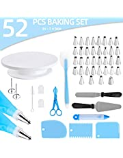 Cake Decorating Supplies 52-in-1 Baking Accessories Turntable Cake Stands, Icing Smoother Scraper, Piping Pastry Tips & Bags, Decorating Pen Frosting Tools Set Kitchen Utensils
