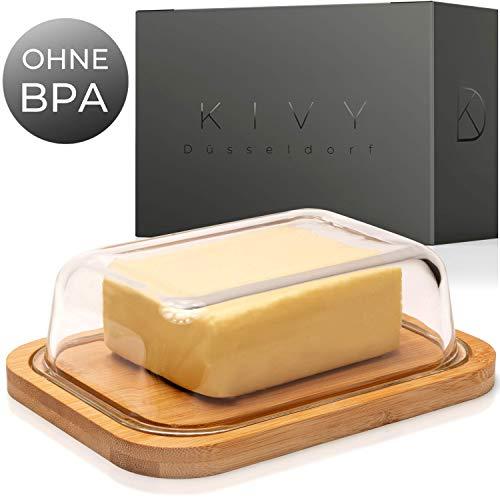 KIVY Butterdose - Hochwertige Butterdose aus Glas mit edlem & nachhaltigem Bambusdeckel - Butter Dish für 250g Butter-Packung - Butterdose Glas mit Deckel