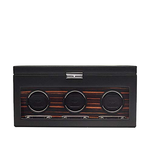 WOLF 457356 Roadster Triple Watch Winder with Cover and Storage, Black