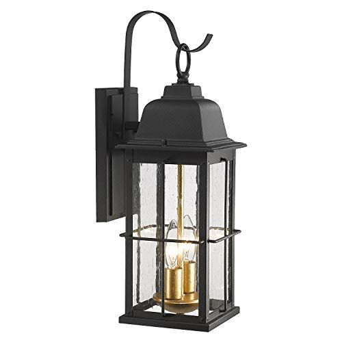 Zeyu Exterior Porch Light Fixtures, 17 inch Outdoor Wall Sconce for House in Black and Gold Finish with Seeded Glass Shade, 20071B2