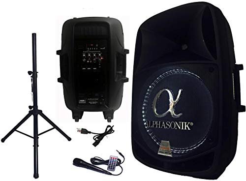 """Alphasonik 15"""" Powered 2800W PRO DJ Amplified Loud Speaker Bluetooth USB SD Card AUX MP3 FM Radio PA System LED Ring Karaoke Feature Mic (Main Monitor, Band, Church, Party, Guitar Amp) w/ Tripod Stand"""