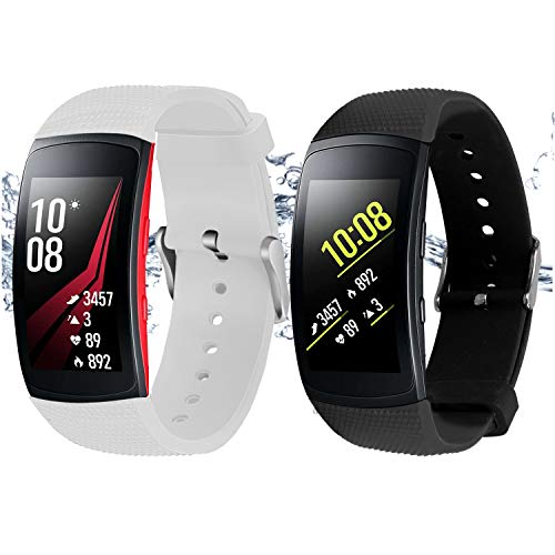 Rukoy Correas Samsung Gear Fit 2 Band/Gear Fit 2 Pro [Paquete de 2: Negro + Blanco], Accesorios para Baterías de Repuesto para Samsung Gear Fit2 Pro SM-R365 / Gear Fit2 SM-R360 Smartwatch (5.9'-7.5')