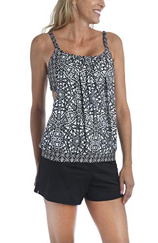 24th & Ocean Women's Double Layer Banded Bottom Tankini Swimsuit Top, Black//Mosaic Tile, L